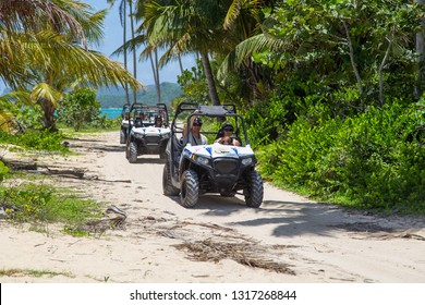 Dominican Republic, Las Galeras, August 3, 2018: Buggy tour in the jungle and on the beach. Extreme ride on ATV, buggies, jeeps. Extreme quad biking.