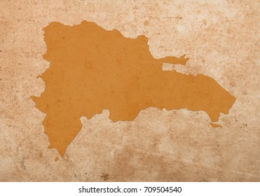 dominican Republic map on vintage grunge paper  Background.