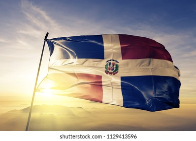 Dominican Republic national flag textile cloth fabric waving on the top
