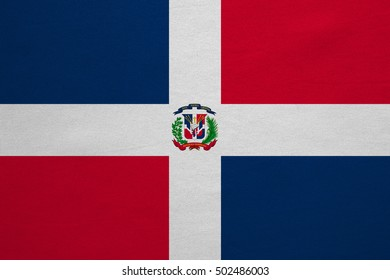 Dominican Republic national official flag. Patriotic symbol, banner, element, background. Correct colors. Flag of Dominican Republic with real detailed fabric texture, accurate size, illustration