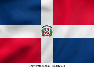 Dominican Republic national official flag. Patriotic symbol, banner, element, background. Correct colors. Flag of Dominican Republic waving in the wind, real detailed fabric texture. 3D illustration