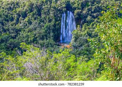 Dominican Republic, peninsula of Samana. El Lemon waterfall in the tropical jungle