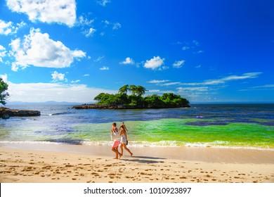 The Dominican Republic. Sandy beach of the island of Cayo Levantado
