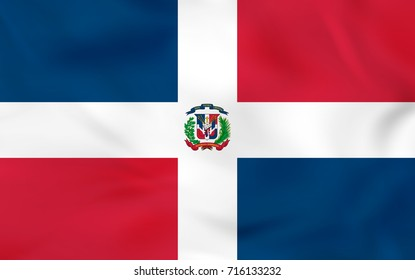 Dominican Republic waving flag. Dominican Republic national flag background texture. Raster copy.