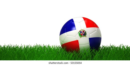 Dominican soccer-ball lying in grass