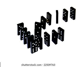 domino arrow shape on white background