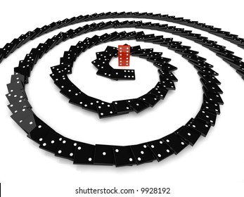 domino effect 3d individuality concept spiral black