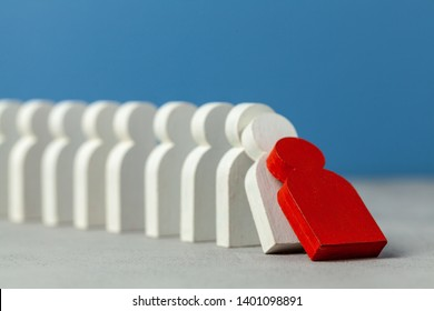 Domino effect in business. One businessman leader falls and brings down other figures of employees. System disruption