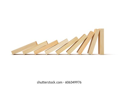 Domino effect, Wooden blocks on white background. 3D illustration