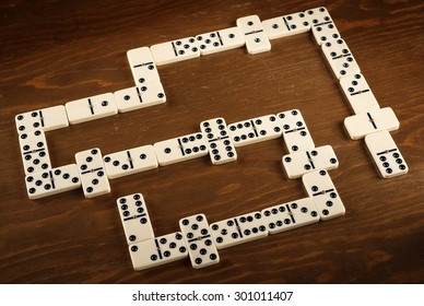 domino game on wooden table