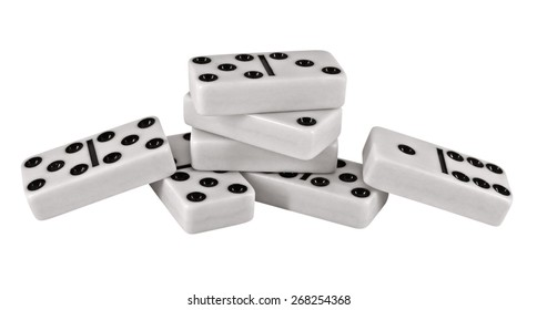 Domino pieces isolated on white background. Clipping Path included.