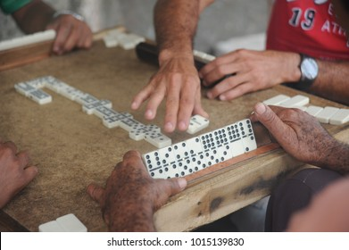 domino traditional game players in cuba