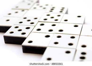 Surface Covered Gray Dominoes Bones Close Stock Photo (Edit