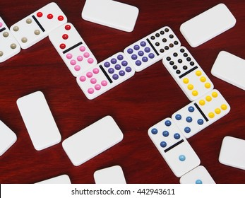 dominoes game on wooden background