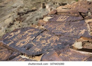 Domkhar rock art sanctuary in Domkhar village in Ladakh, next to the banks of Indus river.