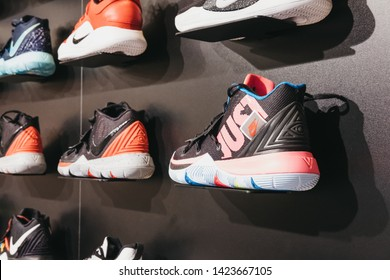 Dommeldange, Luxembourg - May 18, 2019: Nike Kyrie 5, the fifth signature basketball shoe of NBA superstar Kyrie Irving, on sale at a basketball gear store in Luxembourg.