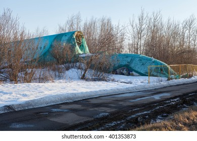 DOMODEDOVO, MOSCOW REGION, RUSSIA - APRIL 13, 2013: Plane crashed at Moscow Domodedovo airport. Tupolev Tu-154 Dagestan Airlines