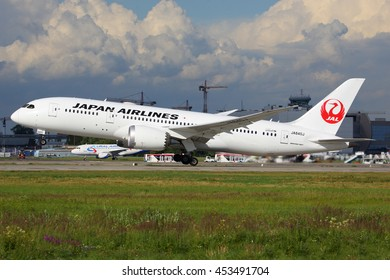DOMODEDOVO, MOSCOW REGION, RUSSIA - JULY 11, 2016: Boeing 787 JA840J of JAL Japan airlines taking off at Domodedovo international airport.