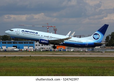 DOMODEDOVO, MOSCOW REGION, RUSSIA - JULY 11, 2016: Boeing 737-86N(WL) EI-ECM of Alrosa Mirny Air Enterprise taking off at Domodedovo international airport.
