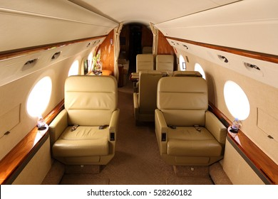 DOMODEDOVO, MOSCOW REGION, RUSSIA - JULY 10, 2011: Cabin of Gulfstream G450 during stand at Domodedovo international airport.