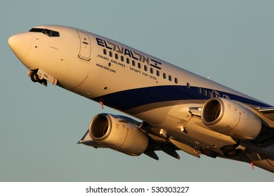 DOMODEDOVO, MOSCOW REGION, RUSSIA - JUNE 20, 2012: Boeing 737-85P 4X-EKL of El Al taking off at Domodedovo international airport.