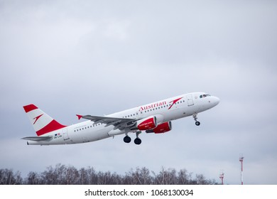 DOMODEDOVO, MOSCOW REGION, RUSSIA - MARCH 27, 2018: Austrian Airlines Airbus A320 (Registration OE-LXE). Plane takes off in Domodedovo International Airport.