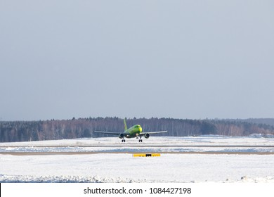 DOMODEDOVO, MOSCOW REGION, RUSSIA - MARCH 27, 2018: S7 Airlines Airbus A319 (Registration VP-BHV). Plane landing in Domodedovo International Airport.
