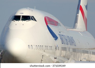 DOMODEDOVO, MOSCOW REGION, RUSSIA - MAY 28, 2012: British Airways Boeing 747-400 taxiing at Domodedovo international airport.