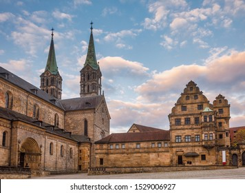 Domplatz square with Romanesque Bamberg Cathedral (Bamberger Dom St. Peter und St. Georg) and Alte Hofhaltung (Old courtyard), a former residence of the bishops now Historic museum in Bamberg Old Town