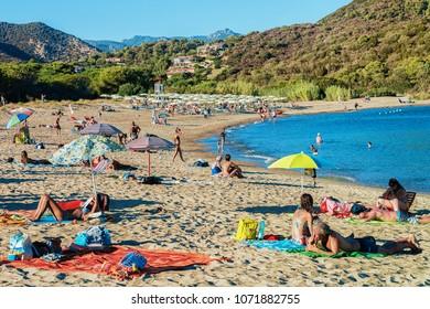 Domus de Maria, Italy - September 14, 2017:  People on Chia beach at the Mediterranian Sea, Sardinia of Italy