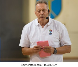 DOMZALE, SLOVENIA - September 13 to September 15, 2013: Zmago Sagadin, having a lecture at International Basketball Coaching Clinic, during the Eurobasket 2013.