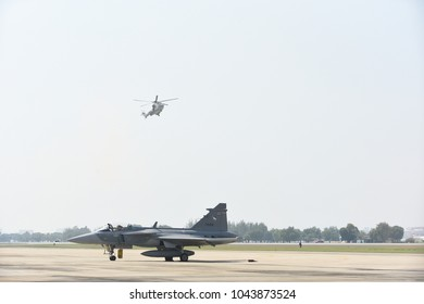 Don Muang Airport Thailand - January 13, 2018 : Air show on children's Day Royal Thai Air Force Base.