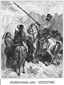 Don Quijote and Princess Micomicona - Picture from The History of Don Quixote book,  published in 1880, London - UK. Drawings by Gustave Dore.