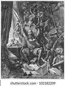 Don Quijote, reading novels of chivalry - Picture from The History of Don Quixote book,  published in 1880, London - UK. Drawings by Gustave Dore.