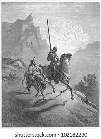 Don Quijote and Sancho Panza - Picture from The History of Don Quixote book,  published in 1880, London - UK. Drawings by Gustave Dore.
