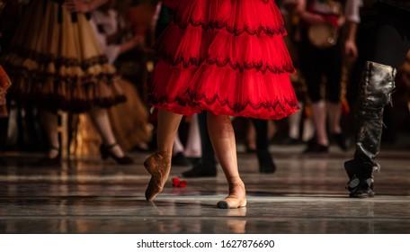 Don Quixote ballet. Closeup of ballerinas dancing