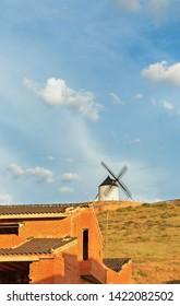 Don Quixote Mills in Consuegro at sunset