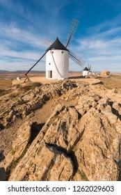 Don Quixote Windmills in Consuegra, Toledo, Spain.