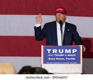 Donald J Trump, presidential candidate, at the Boca Raton, FL Rally on March 13th, 2016.