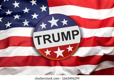 Donald Trump campaign button on the United States of America flag.