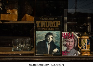 Donald Trump and Hillary Clinton books side-by-side in a store window in New York City during the 2016 Presidential Election Campaign, 2016.