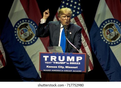 Donald Trump rally at the Midland Theater in Kansas City Missouri. Presidential candidate Donald Trump addresses the crowd of 3200 supporters tonight