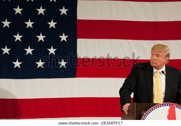 Donald Trump speaks at the First in the Nation Leadership Summit in Nashua, NH, on April 18, 2015