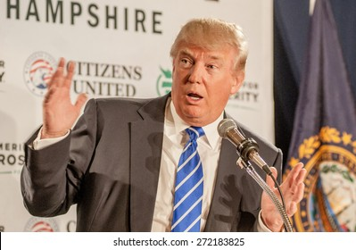 Donald Trump speaks in Manchester, New Hampshire, USA, on April 12, 2014