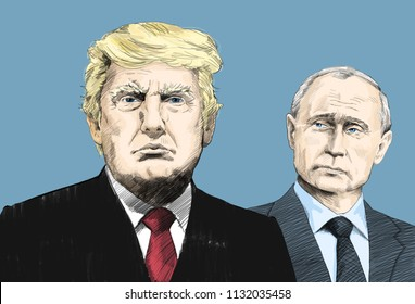 Donald Trump and Vladimir Putin. Portrait Drawing Illustration. July 11, 2018