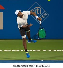 Donald Young (USA) loses to Kei Nishikori (JPN) at the Citi Open tennis tournament on August 1, 2018 in Washington DC