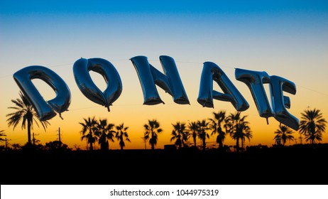 Donate balloon sign at charities and fundraiser event