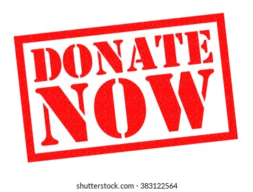 DONATE NOW red Rubber Stamp over a white background