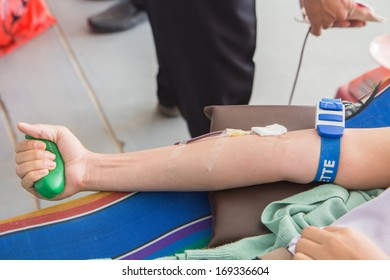 Donating blood at the hospital