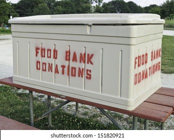 Donation box at large community garden